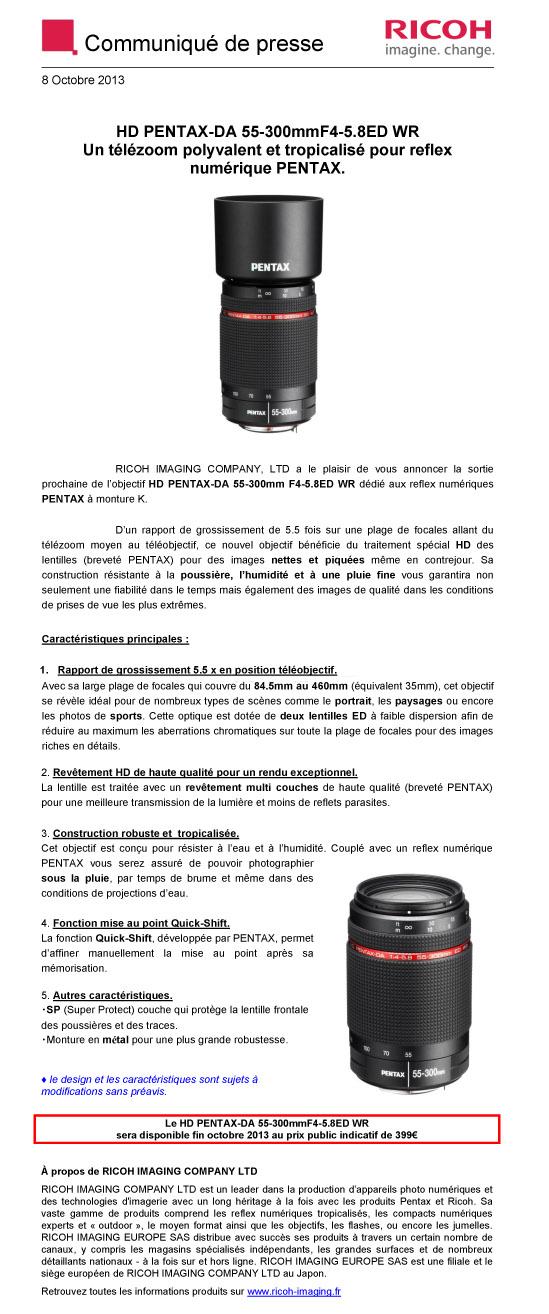 PENTAX RICOH IMAGING - Communiqué de Presse 08/10/2013 - DA 55-300 ED WR 8zi0