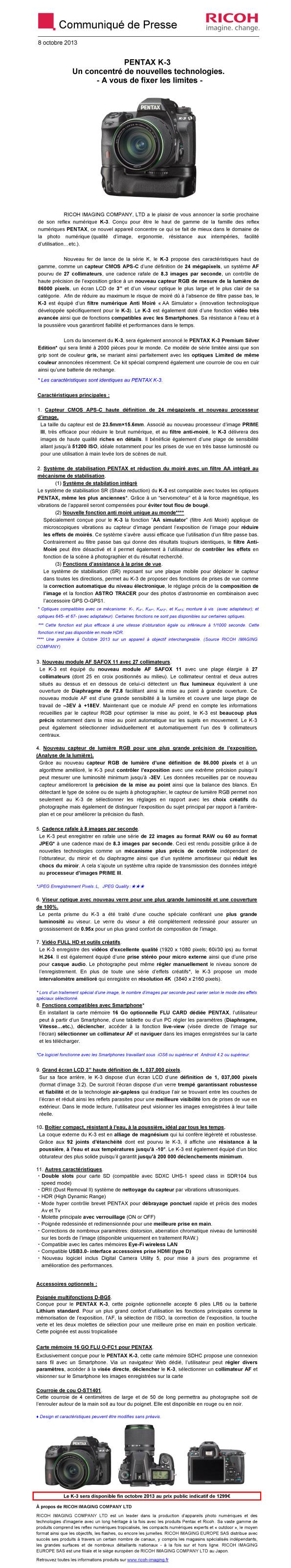 PENTAX RICOH IMAGING - Communiqué de Presse 08/10/2013 - Pentax K-3 Exth