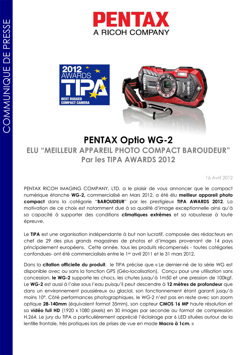 WG2 - Pentax Ricoh - Communiqué de presse du 16/04/2012 Cpprixtipapentaxwg2