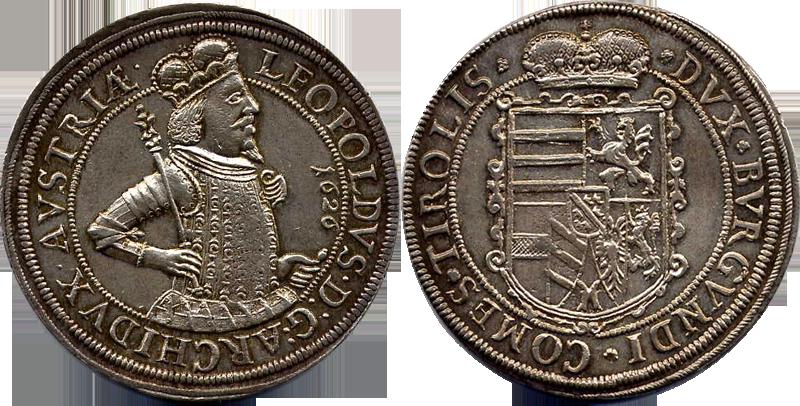 75. Taler (60 Kreuzer) 1626, à l'effigie et armorial de l'archiduc Léopold V (1620-1632), Ensisheim   Leopold1626