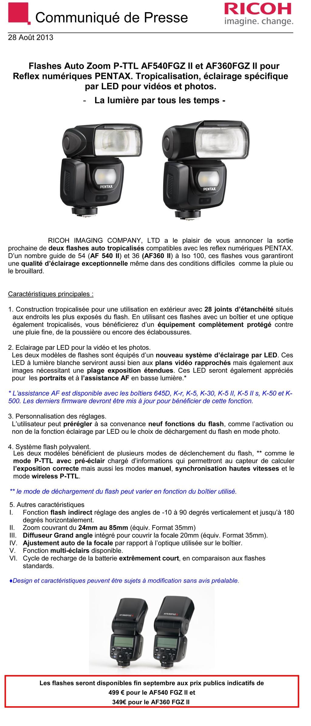 PENTAX RICOH IMAGING - Communiqué Presse 28/08/2013 - Flash AF540FGZ II etAF360FGZ II 6dcq