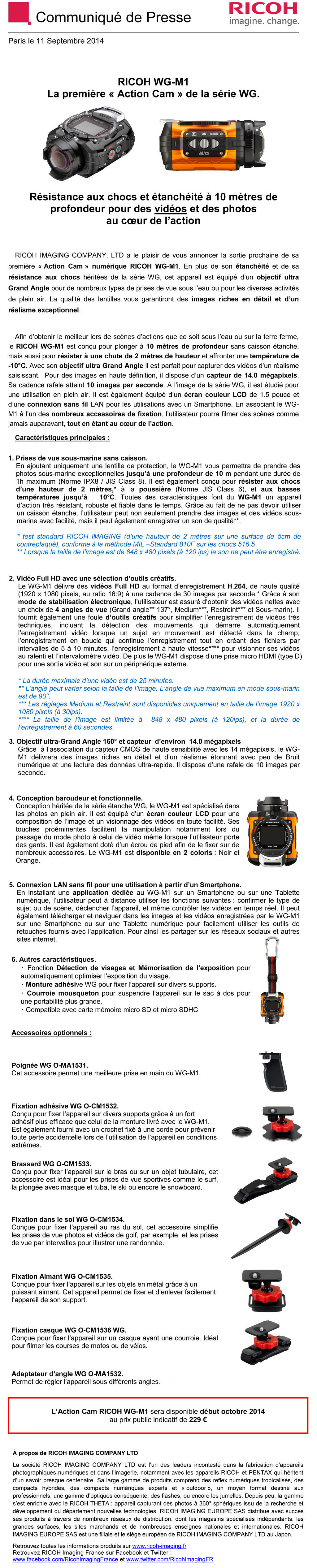 PENTAX RICOH IMAGING - CP 11/09/2014 -  RICOH WG-M1 GgiRQV