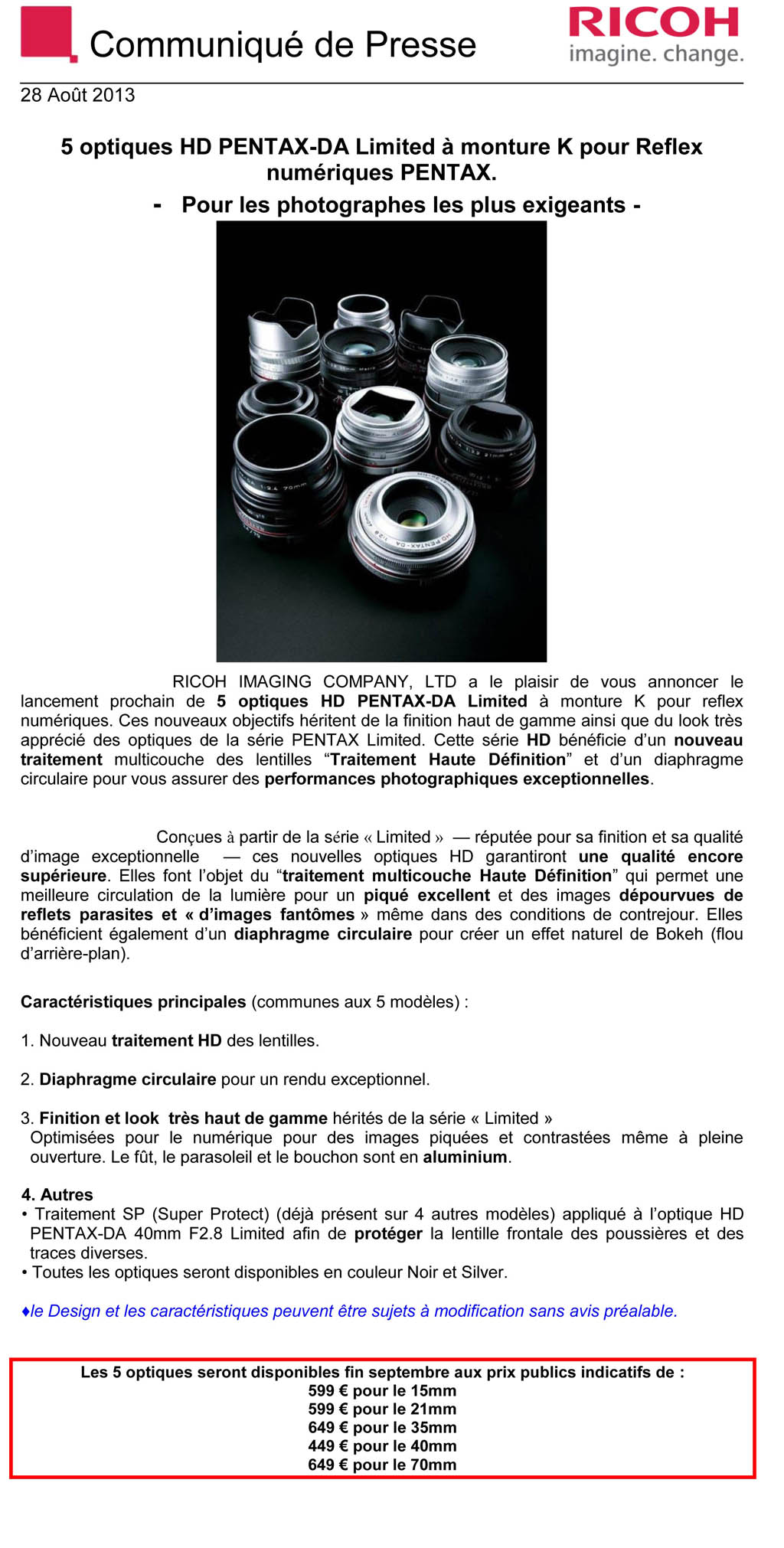 PENTAX RICOH IMAGING - Communiqué de Presse 28/08/2013 - 5 optiques HD Pentax DA Ltd Li56
