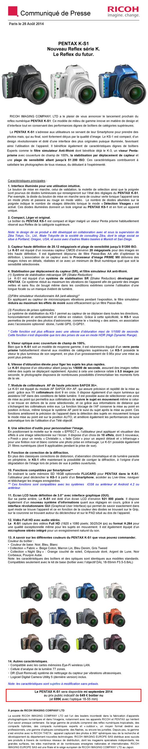 PENTAX RICOH IMAGING - Communiqué de Presse 28/08/2014 - K-S1 Vx6p8X