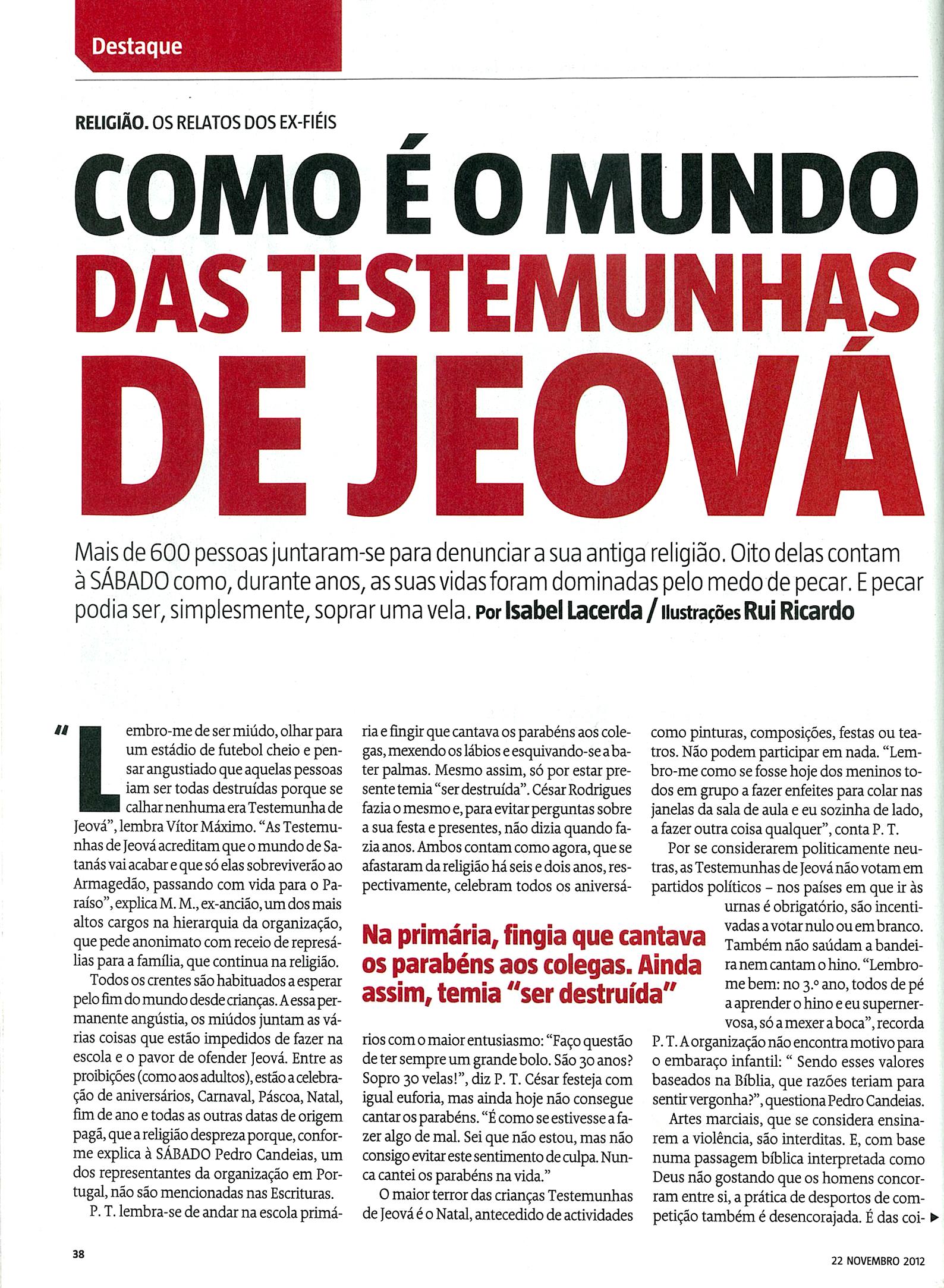 LINK ATUALIZADO - Revista Sábado digitalizada - artigo sobre as Testemunhas de Jeová Pag2a