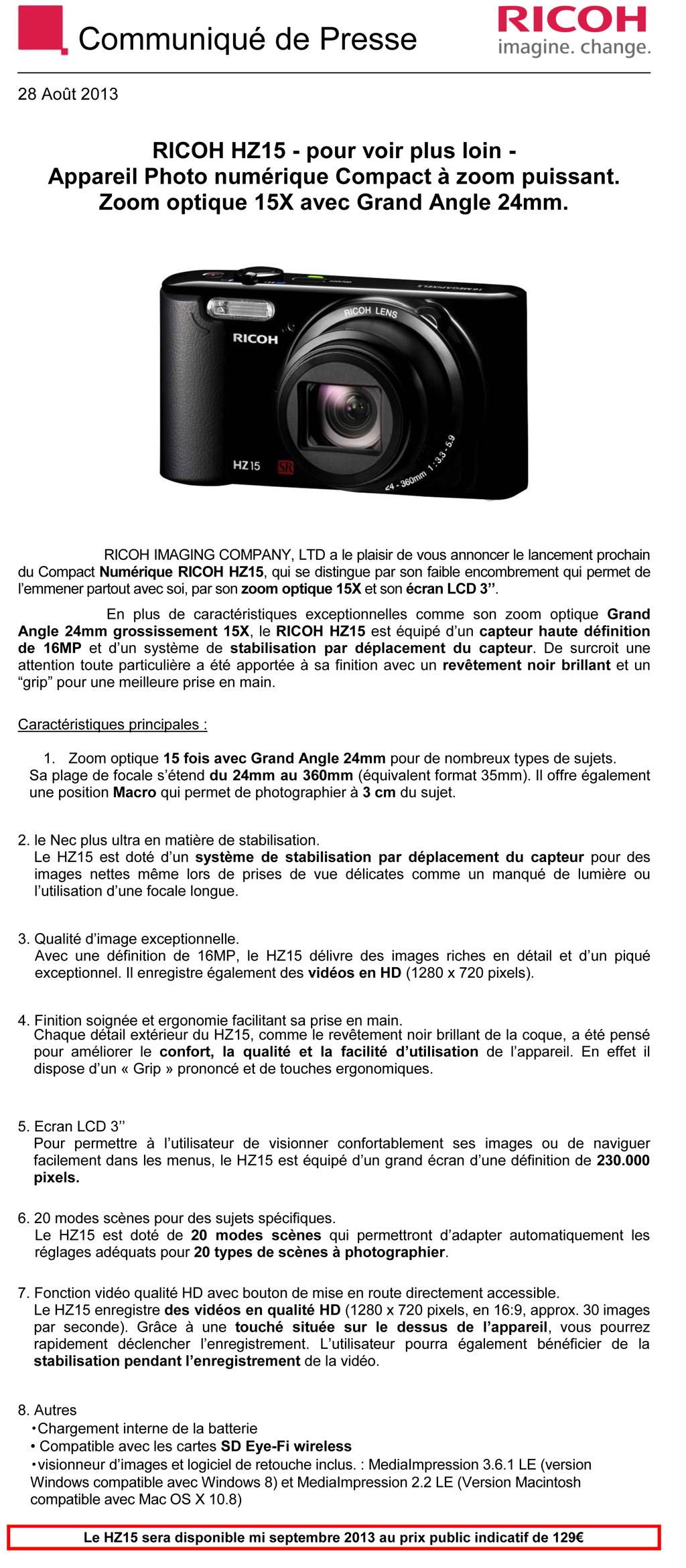 PENTAX RICOH IMAGING - Communiqué de Presse 28/08/2013 - Ricoh HZ15 9xic