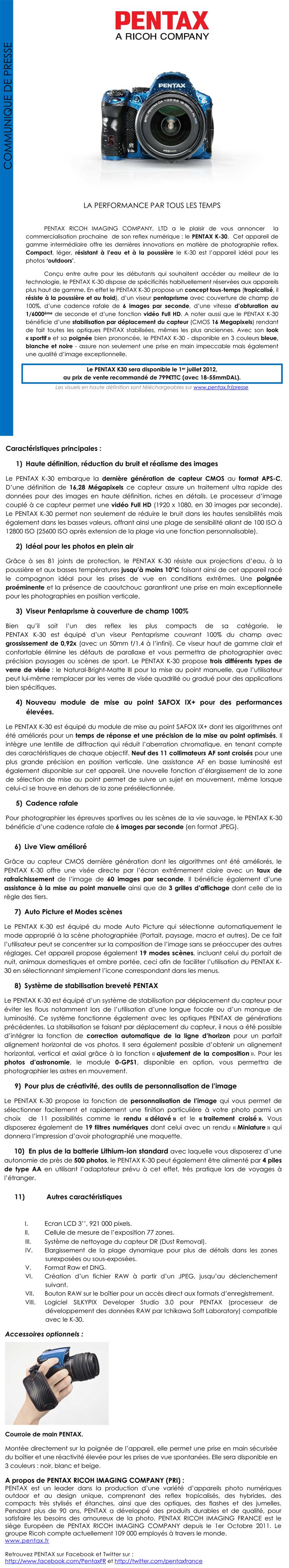 K-30 - Pentax Ricoh - Communiqué de presse du 22 mai 2012   Cppentaxk30