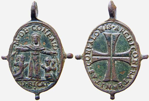 Virgen de la Merced / Emblema mercedario pezuelada S-XVII (R.M. Pe Merced 2) B046dvirgendeconfalocru