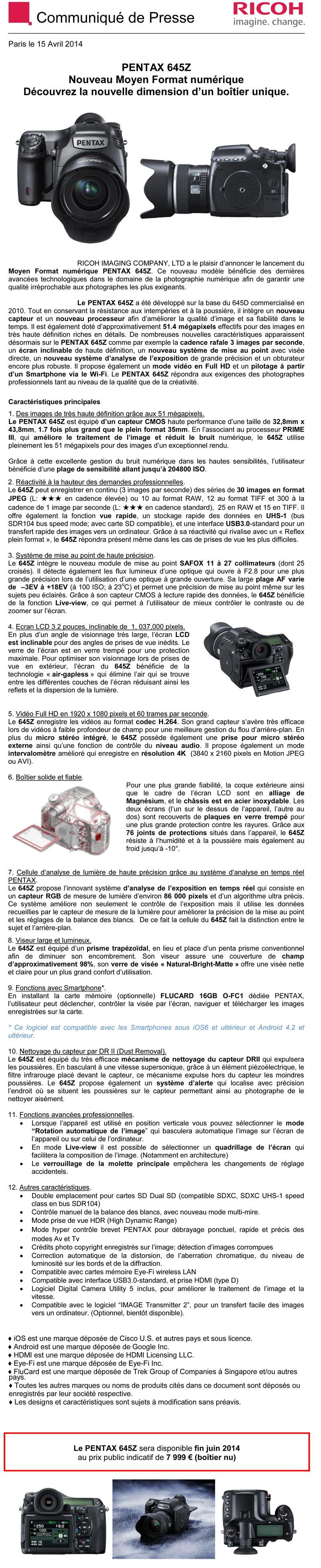 PENTAX RICOH IMAGING - Communiqué de Presse 15/04/2014 - MOYEN FORMAT 645Z Yub2
