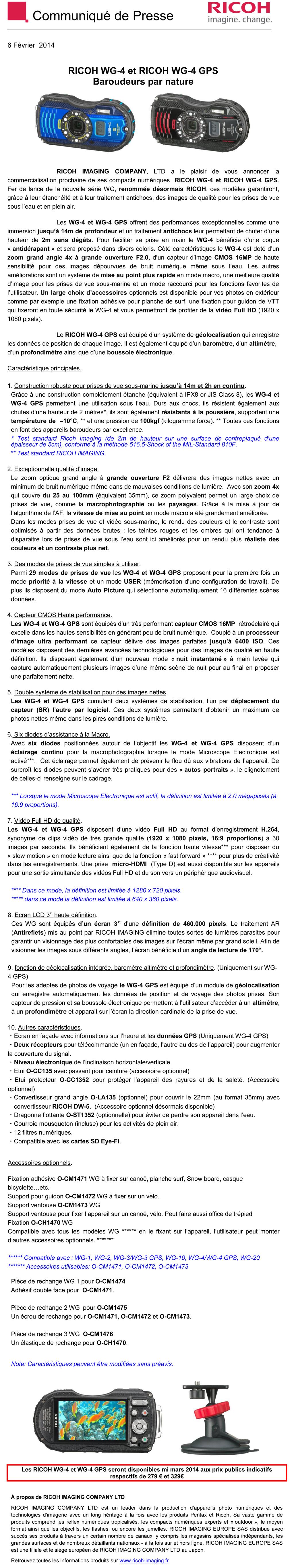 PENTAX RICOH IMAGING - CP 06/02/2014 - RICOH WG-4 et RICOH WG-4 GPS Illj