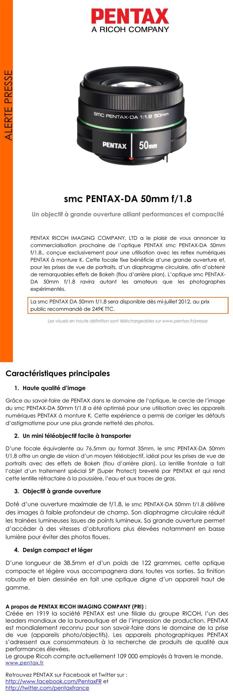 smc PENTAX-DA 50mm f/1.8 - Pentax Ricoh - Communiqué de presse du 22 mai 2012 Forumcp50mm