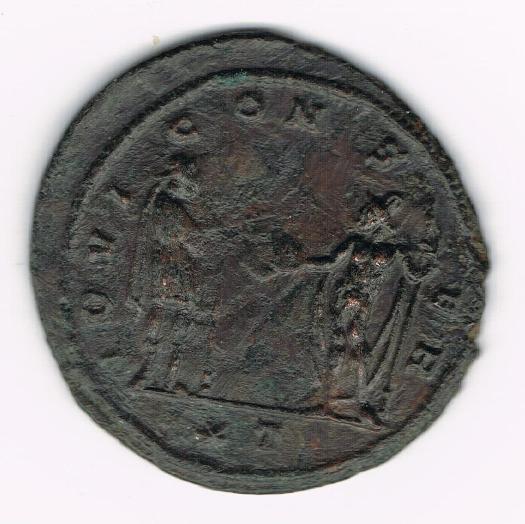 Antoniniano de Aureliano. IOVI CONSER. Emperador y Júpiter estantes enfrentados. Ceca Siscia. IttUgS