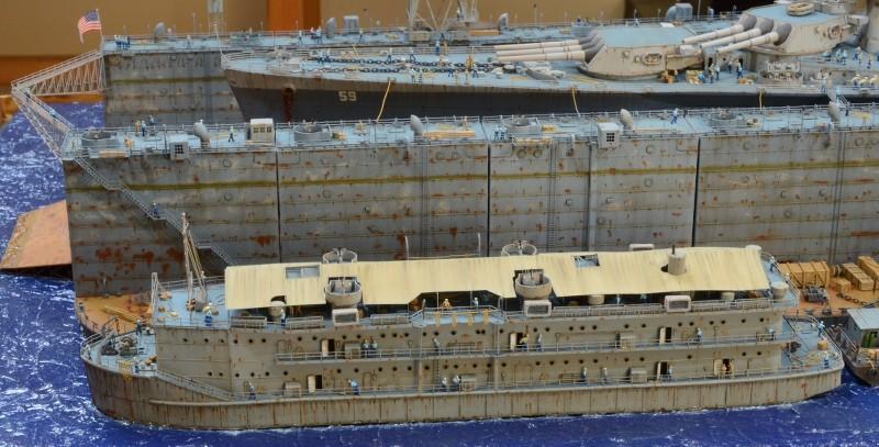 Diorama Terminé du Dock Flottant ABSD et cuirassé BB-59 au 1/350 de Trumpeter 9ukp5E