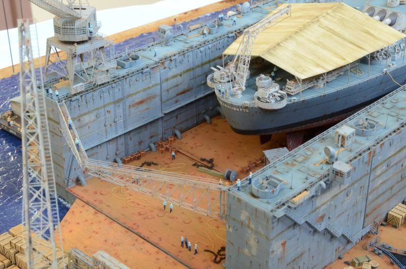 Diorama Terminé du Dock Flottant ABSD et cuirassé BB-59 au 1/350 de Trumpeter ZRMdar