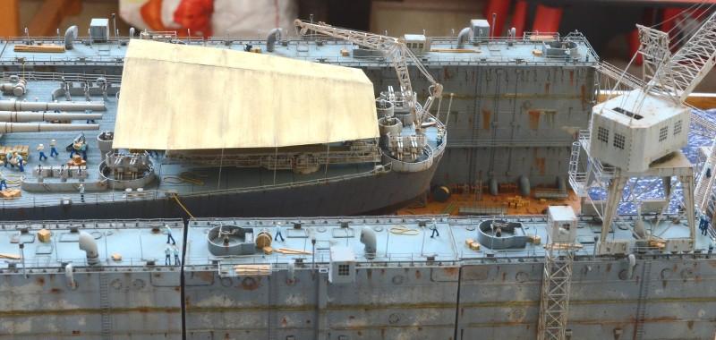 Diorama Terminé du Dock Flottant ABSD et cuirassé BB-59 au 1/350 de Trumpeter OOYGVO