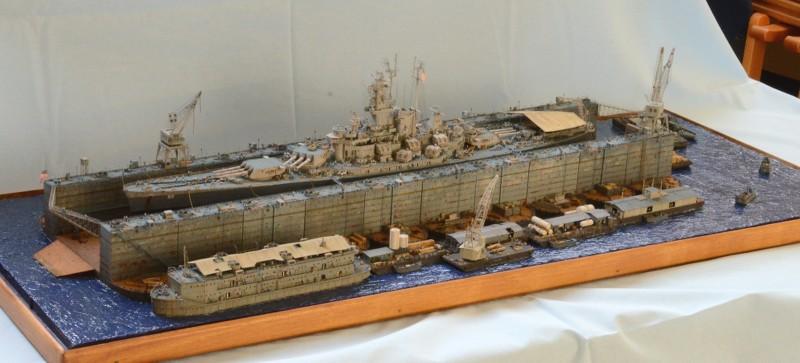 Diorama Terminé du Dock Flottant ABSD et cuirassé BB-59 au 1/350 de Trumpeter PqvVKl