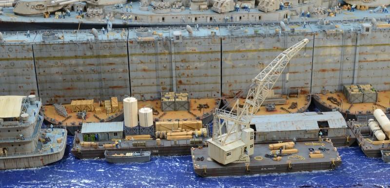 Diorama Terminé du Dock Flottant ABSD et cuirassé BB-59 au 1/350 de Trumpeter UYsQBA