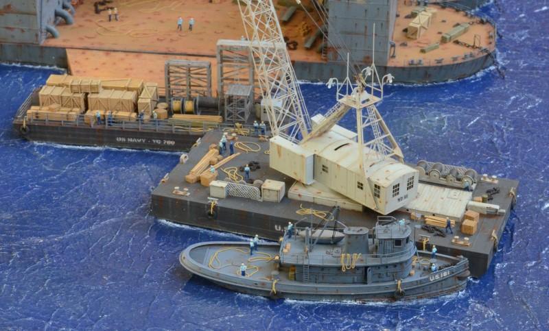 Diorama Terminé du Dock Flottant ABSD et cuirassé BB-59 au 1/350 de Trumpeter 8OUEy3