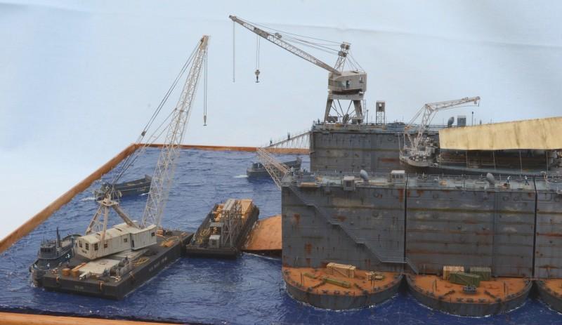Diorama Terminé du Dock Flottant ABSD et cuirassé BB-59 au 1/350 de Trumpeter BlGund