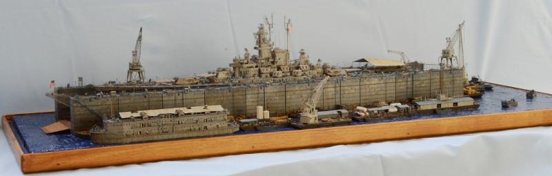 Diorama Terminé du Dock Flottant ABSD et cuirassé BB-59 au 1/350 de Trumpeter PlOX1I