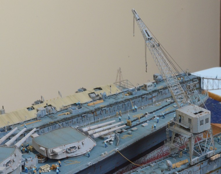 Diorama Terminé du Dock Flottant ABSD et cuirassé BB-59 au 1/350 de Trumpeter GmKAHa