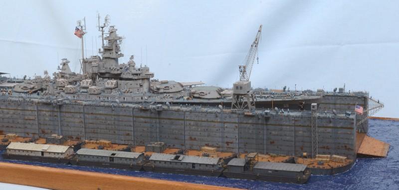 Diorama Terminé du Dock Flottant ABSD et cuirassé BB-59 au 1/350 de Trumpeter J67T1k