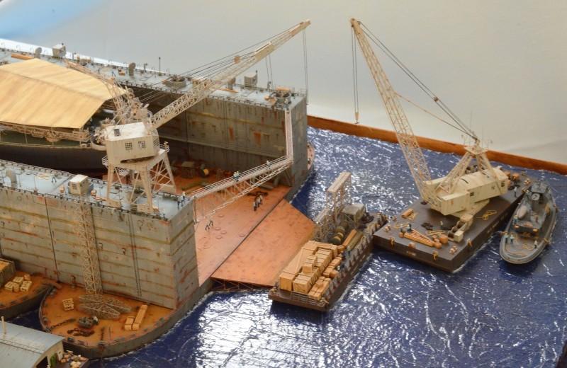 Diorama Terminé du Dock Flottant ABSD et cuirassé BB-59 au 1/350 de Trumpeter KrvZvk