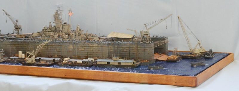 Diorama Terminé du Dock Flottant ABSD et cuirassé BB-59 au 1/350 de Trumpeter Enbsvy