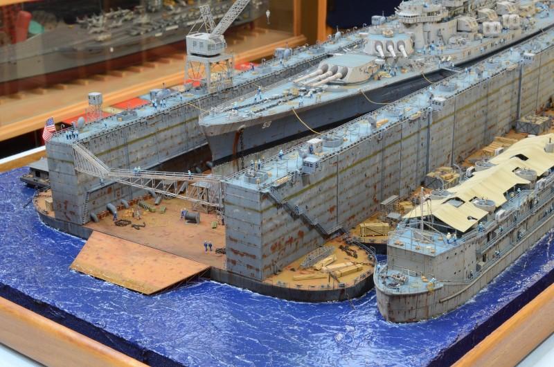 Diorama Terminé du Dock Flottant ABSD et cuirassé BB-59 au 1/350 de Trumpeter EX1JZr
