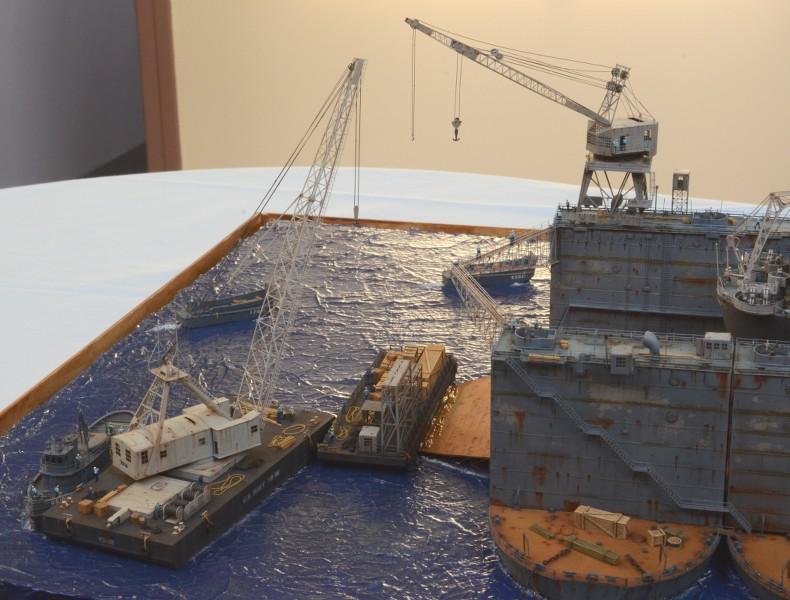 Diorama Terminé du Dock Flottant ABSD et cuirassé BB-59 au 1/350 de Trumpeter T5Rpl5