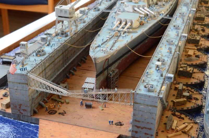 Diorama Terminé du Dock Flottant ABSD et cuirassé BB-59 au 1/350 de Trumpeter YAkOop