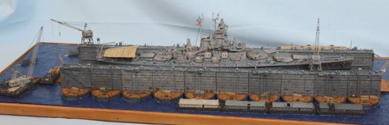 Diorama Terminé du Dock Flottant ABSD et cuirassé BB-59 au 1/350 de Trumpeter Mrfb6g