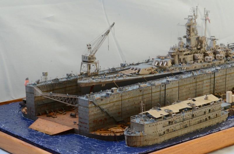 Diorama Terminé du Dock Flottant ABSD et cuirassé BB-59 au 1/350 de Trumpeter YYFecI