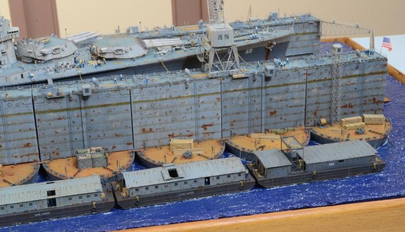 Diorama Terminé du Dock Flottant ABSD et cuirassé BB-59 au 1/350 de Trumpeter BuveJb