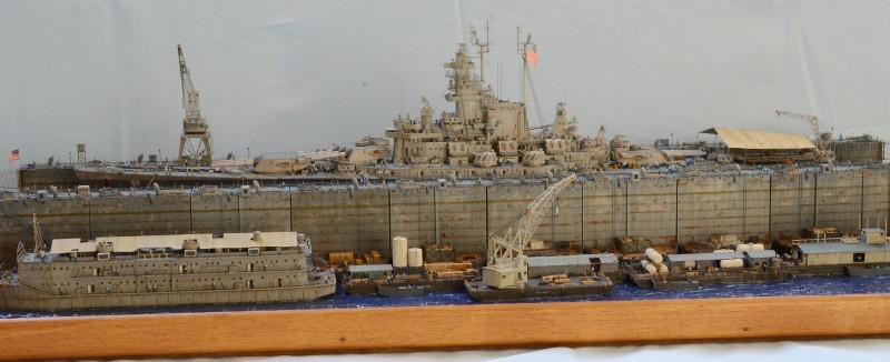 Diorama Terminé du Dock Flottant ABSD et cuirassé BB-59 au 1/350 de Trumpeter XIcV3i