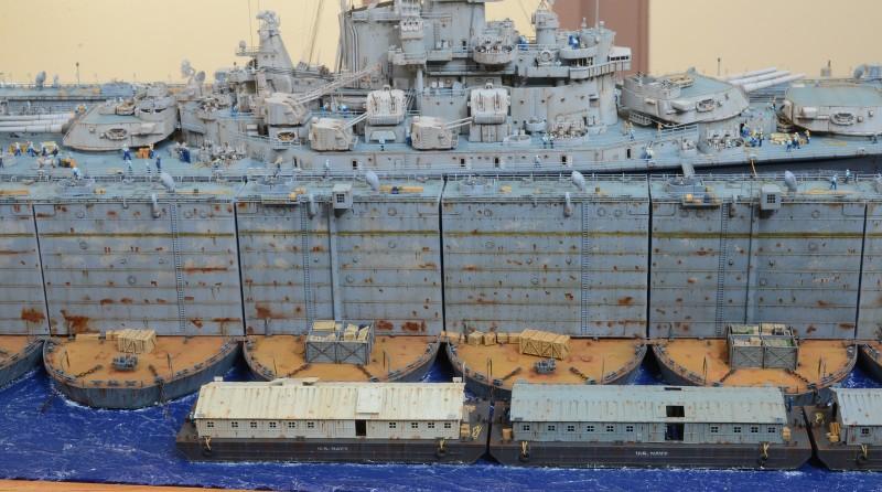 Diorama Terminé du Dock Flottant ABSD et cuirassé BB-59 au 1/350 de Trumpeter 1uZjkT