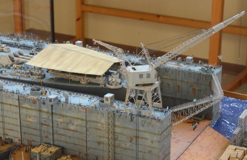 Diorama Terminé du Dock Flottant ABSD et cuirassé BB-59 au 1/350 de Trumpeter BRwEhX
