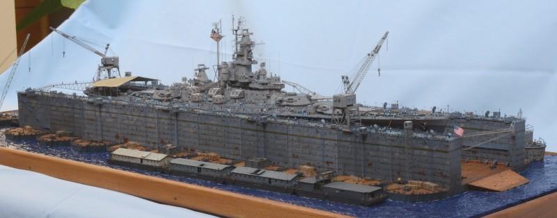 Diorama Terminé du Dock Flottant ABSD et cuirassé BB-59 au 1/350 de Trumpeter A5or2L
