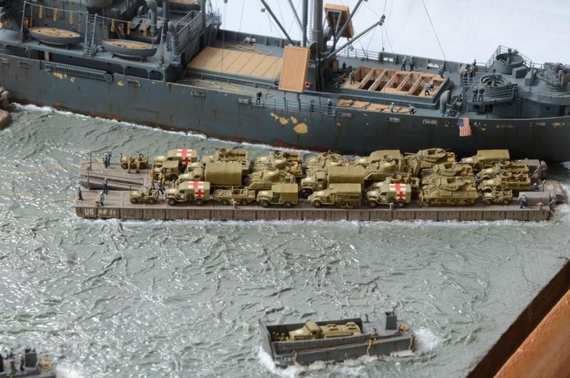 Diorama Port Mulberry A Omaha Beach 16 Juin 1944 au 1/350 - Scratch sur base Iron Shipwrights, Trumpeter et l'Arsenal GztGVh