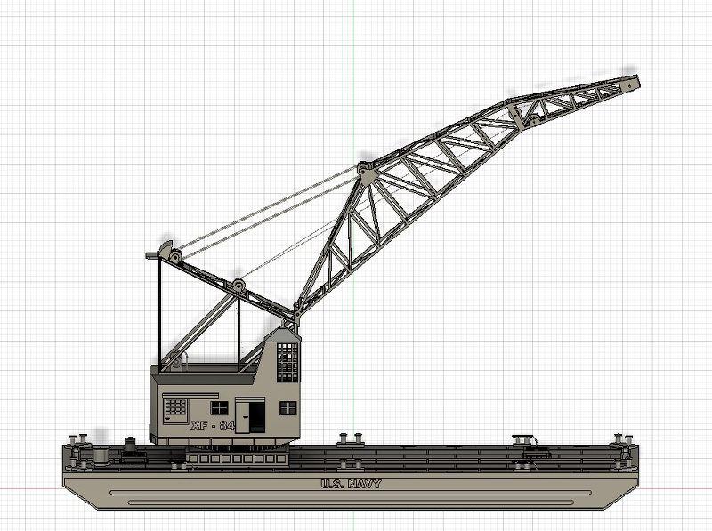 Grues sur barges & remorqueur (Impression 3D 1/350°) de NOVA73 JsPmpS