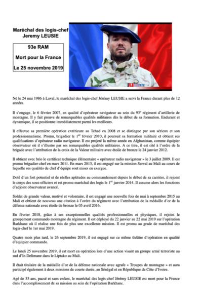 Cagnotte en ligne pour la famille du  maréchal des logis-chef Jérémy Leusie . TIGeI4
