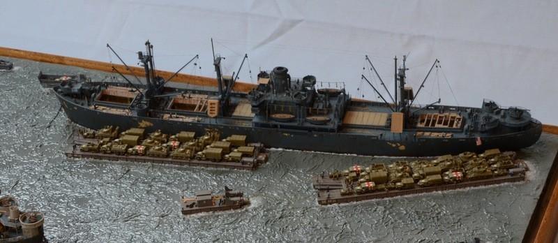 Diorama Port Mulberry A Omaha Beach 16 Juin 1944 au 1/350 - Scratch sur base Iron Shipwrights, Trumpeter et l'Arsenal ID5zsc