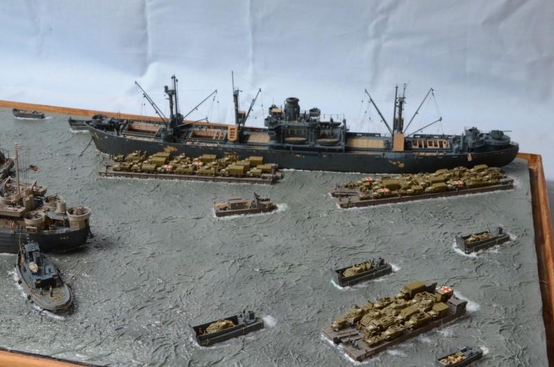 Diorama Port Mulberry A Omaha Beach 16 Juin 1944 au 1/350 - Scratch sur base Iron Shipwrights, Trumpeter et l'Arsenal 4Mr0sG