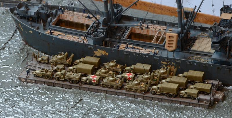 Diorama Port Mulberry A Omaha Beach 16 Juin 1944 au 1/350 - Scratch sur base Iron Shipwrights, Trumpeter et l'Arsenal 8l5pBa