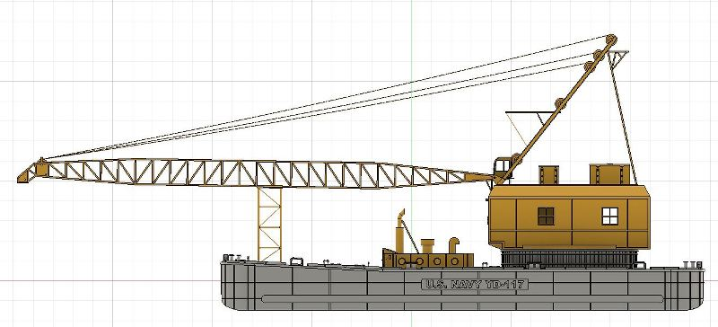 Grues sur barges & remorqueur (Impression 3D 1/350°) de NOVA73 QiGuei