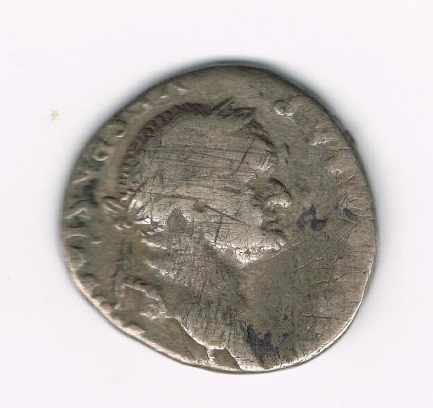 Denario de Vespasiano. PON MAX TR P COS (…..). Caduceo alado. Ceca Roma. DsGI59