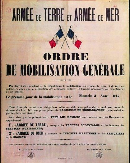 ORDRE DE MOBILISATION GENERALE 1914 VrPRoV