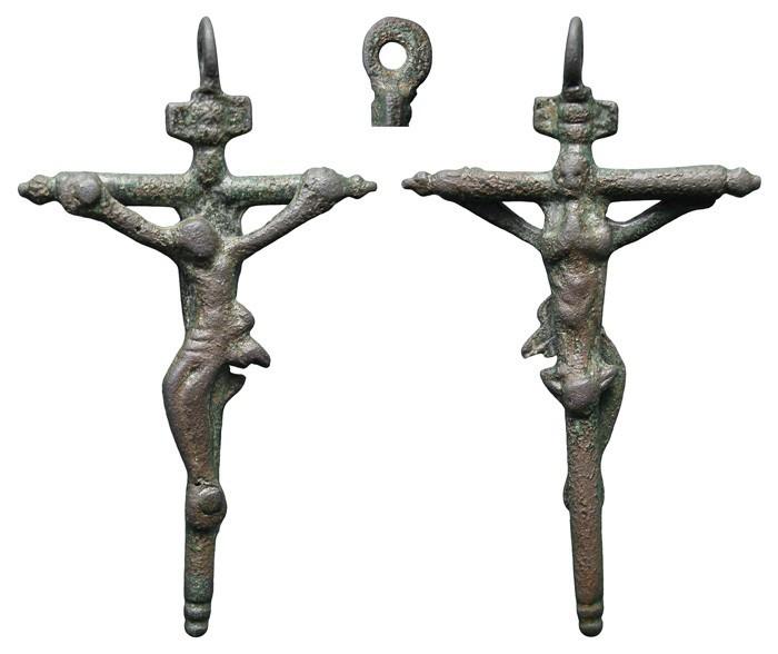 "Crucifijo cilíndrica bifaz Cristo en ""S""/ Inmaculada S-XVII– CC-042- [Pec023/S-XVII]* YjBeID"