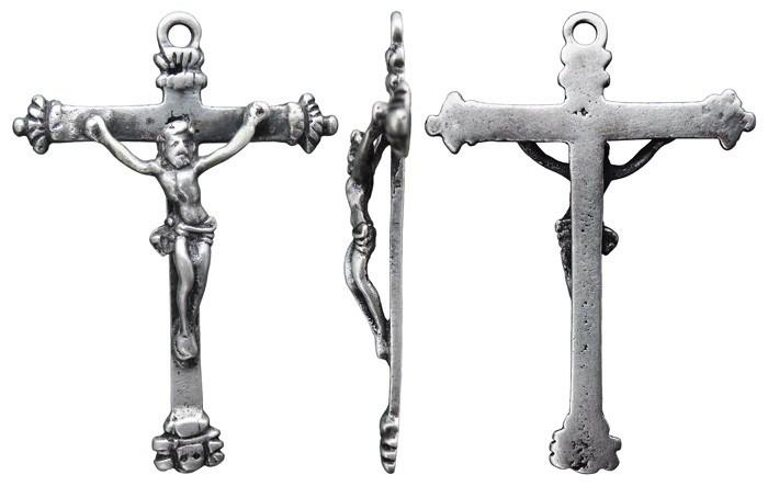 """Crucifijo pectoral con palmetas, Cristo en""""S"""" invertida. S-XVII- CC-088-[Pec041/S-XVII]* 8cPaNg"""
