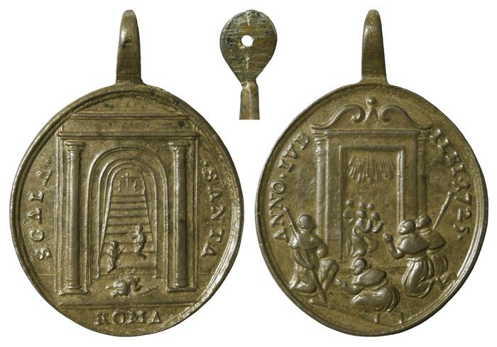 Medalla del Jubileo Romano de 1725  Puerta Santa / Escala Santa (R.M. SXVIII-O291) ExKgec